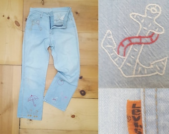 "Vintage Levi's Jeans  //  Distressed 1970s Hand Embroidered Light Wash Denim Flares   //  30"" waist"