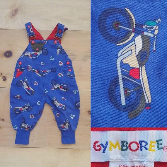 Vintage Gymboree Overalls   Vtg Distressed Blue White Check Color Block Baby Bibs   infant child size