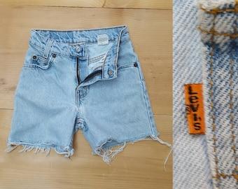 Vintage Kids Levi's Cut Off Jeans // 90s Child Size Levis 550 Faded Thrashed Denim Shorts // unisex toddler size