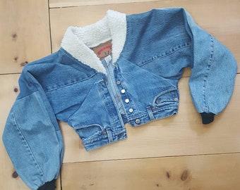Vintage Denim Jacket  //  Unusual Cropped Patchwork Bomber Jacket made of Distressed Vtg Levi's Jeans w/ Faux Shearling Fleece Collar