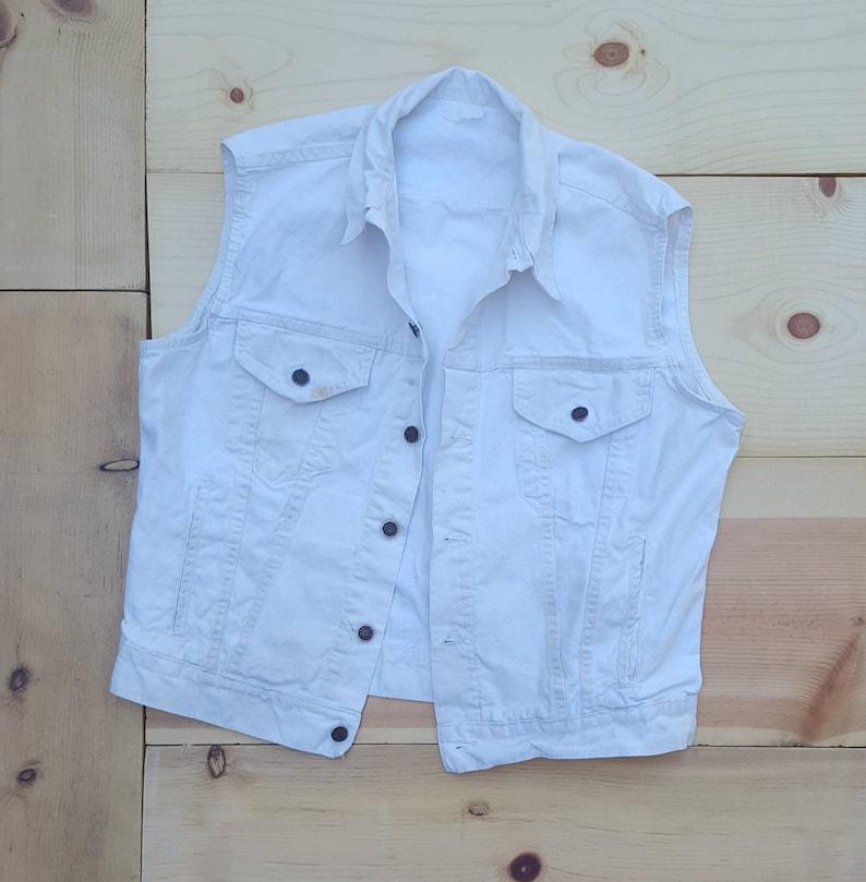 Cotton Work Vest 70s Vtg Wash Painters Dirty White 80s Denim Vintage Oversized Wear Off Distressed 0kn8OXNwP