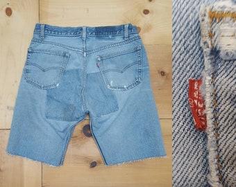 """Vintage Levi's Cut Offs  /  Vtg 80s LEVI'S Distressed Denim Shorts w/ Patchwork Panels Repairs   /  33"""" waist"""
