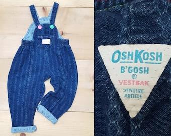 Vintage OshKosh Kids Overalls  // Vtg 80s Made in the USA Distressed Denim Bibs w/ Cuffs + Rainbow Stitching // toddler child size  3T