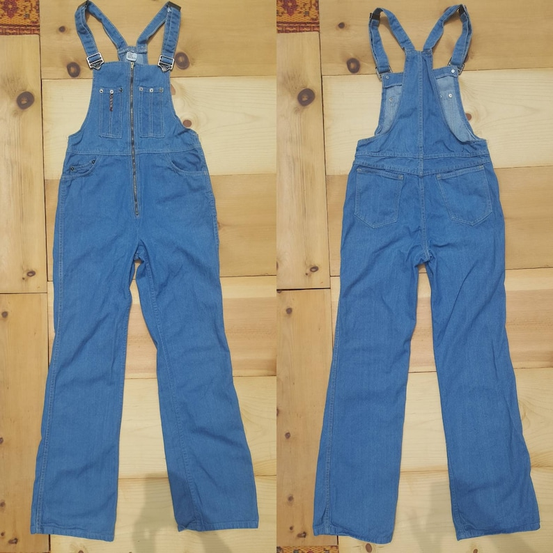 6d9b2870133f Vintage Overalls    Vtg 1970s CASH Jeans Fitted Zip Front Slim