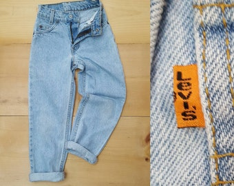 Vintage LEVI'S Kids Jeans  // Vtg 90s Levis 550  Made in the USA Distressed Slim Fit Light Wash Denim Childrens Jeans // child size 8 slim