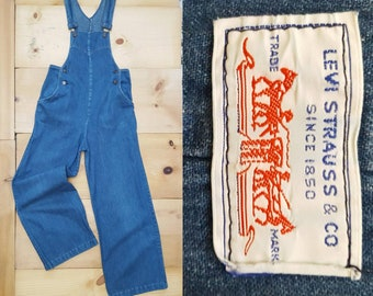Vintage Levi's Overalls // Rare Vtg 1970s Levis Faded Denim Fitted Fall Front Overalls // xs