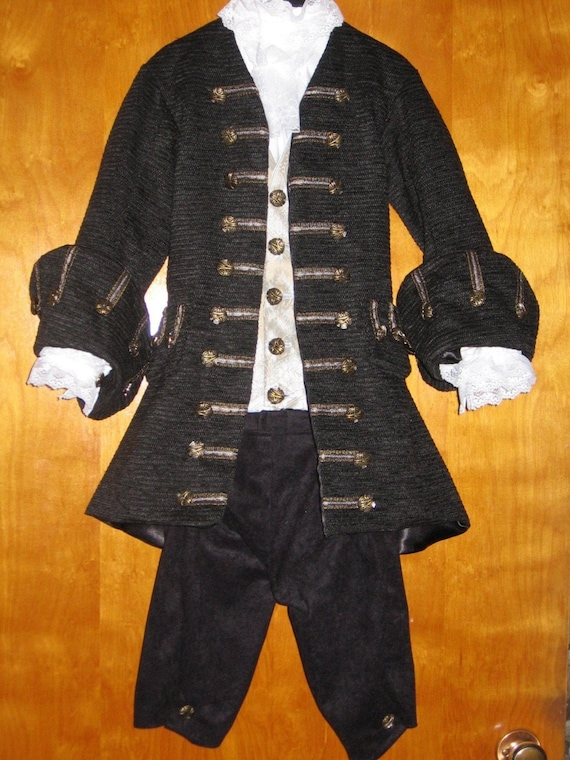Custom Made Child or Teen guy or girl 4 piece pirate Captain Jack Sparrow frock Coat, shirt, vest and breeches costume