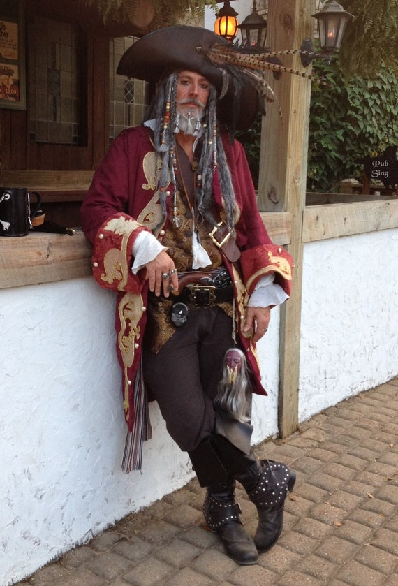 Custom Made Captain Teague Renaissance Pirate POTC frock coat with full trim details