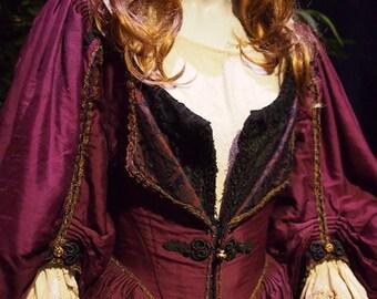 Custom made  Elizabeth Swann 3 piece set linen shift. overdress with corset and under dress