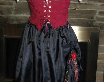 Custom Made 3 pc. Renaissance wench pirate chemise corset  and skirt