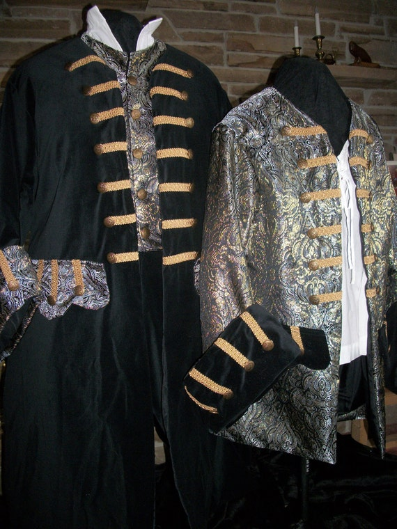 Custom Made His and Her pirate costumes includes 2 frock coats shirts and breeches vest for him and corset for her