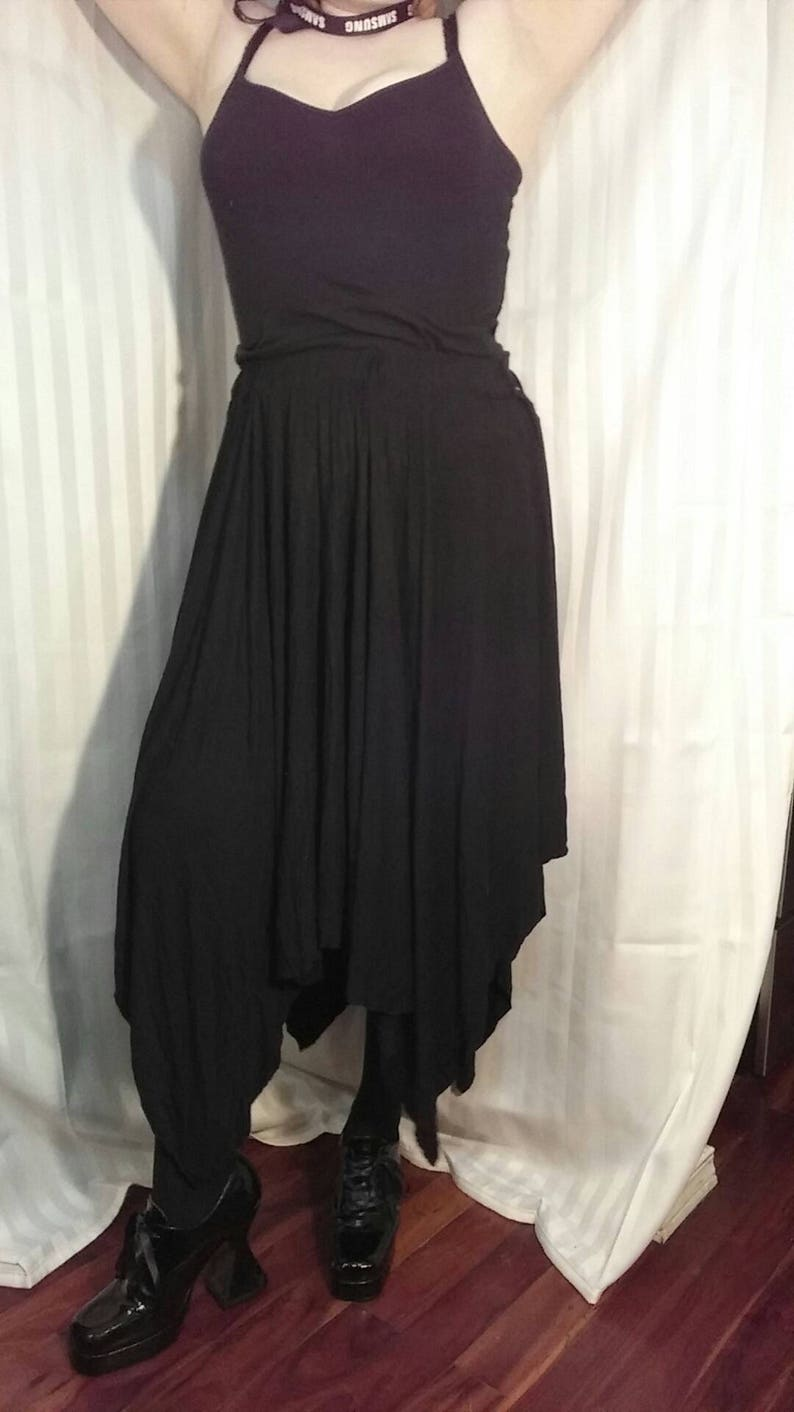 Black Knit Cotton Full Skirt Size medium to large 28 to 40 inch wide