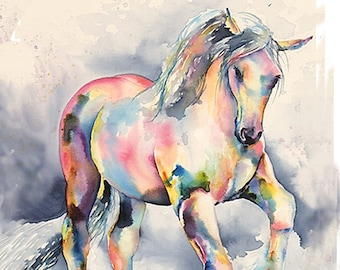 Palomino Clydesdale Rainbow Horse - watercolor fine art print, signed by artist