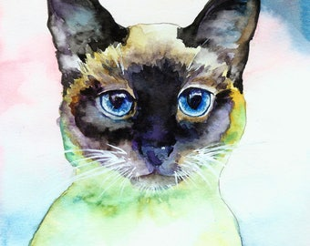 Seal Point Siamese Whiskers Kitty Cat Watercolor Print Pet Portrait
