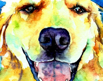 Yellow Lab, Golden Retriever Puppy Dog Watercolor Print Pet Portrait