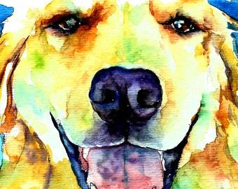 Golden Retriever Yellow Labrador Watercolor Fine Art Print