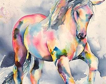 Palomino Horse Fine Art Painting - Large Canvas - Buy Print of White Stallion or Order Custom Horse Painting