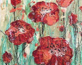 Custom Watercolor Mixed Media Painting - Flower Field, Poppy Flower, Daisy, Lace, Grass, Tulip, Rose, Wild, Carnation, sunflower, iris, lily