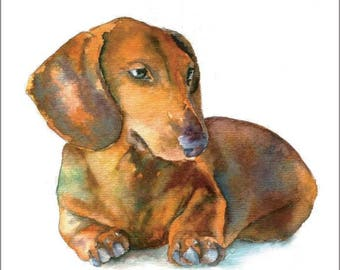 Red Weiner Dog, Dachshund Puppy Dog Watercolor Print Pet Portrait