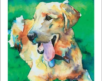 Golden Retriever, Yellow Lab, Labrador Puppy Dog Watercolor Print Pet Portrait