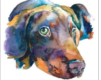 Doberman, Labrador Puppy Dog Watercolor Print Pet Portrait