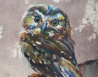 Sa Whet Owl Fine Art Print - Original done in Red Wine and Oil on Canvas