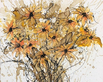 Wild Yellow Daisies, Daisy Flower, Weeds, Grass - Watercolor and Coffee Painting - Print only. Midwest, Illinois, Prairie