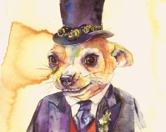 Custom Watercolor Portrait Painting - Steam Punk Your Pet! Commissioned Watercolor Artwork of your pet!