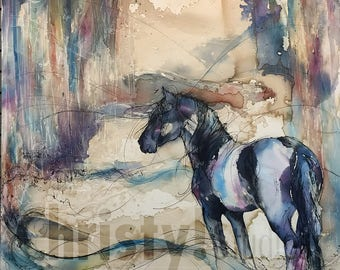 Black Horse Fresian Stallion Fine Art Print - coffee, watercolor forest