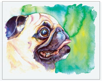 Fawn Pug Profile with Green Background - Fine Art Pet Portrait Giclee Print