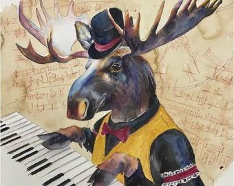 Piano Playing Moose - Coffee and Watercolor Victorian Steam Punk Fine art print, Old Western, Music