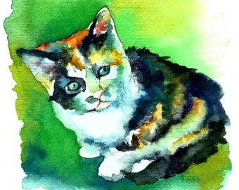 Tortoise Shell Baby Whiskers Kitty Cat Watercolor Print Pet Portrait