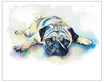 Laying Flat Fawn Pug Dog - Fine Art Pet Portrait Giclee Print