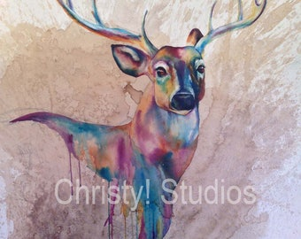 White Tailed Deer, Stag Fine Art Watercolor Coffee Print - rainbow, drip, antlers