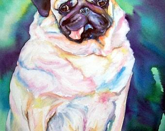 Original Watercolor painting on Canvas - Pudgey Pug, Blue Purple background