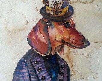 Weiner Dog Card Shark - Coffee and Watercolor Victorian Steam Punk Fine art print - Dauchund Dog, Pet Portrait, Poker Player