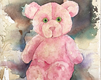 Pink Vintage Teddy Bear - Fuzzy Wuzzy - baby toy, stuffed animal, kid room, baby decor