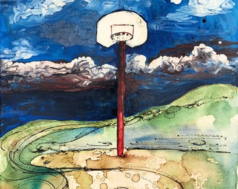 Basketball Hoop Pole Country Kid Fine Art Print - Blue Sky, Memories, Play, Ball, Clouds, Outside, Games, Boy