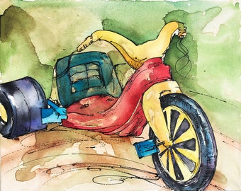 Big Wheel Bike Coffee and watercolor painting - print - vintage, toy, 1970s, 1980s, memories, childhood