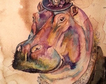 Hippo Hippopatumus- Coffee and Watercolor Victorian Steam Punk Fine art print, derby, top hat, fancy, brooch, lace, plum, cameo