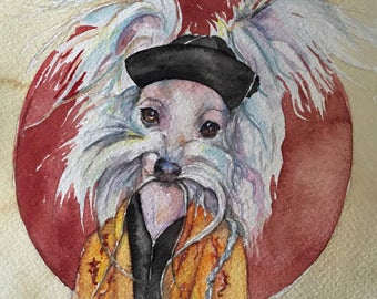 Tasso Chinese Crested Fu Man Chu -  Coffee and Watercolor Victorian Steam Punk Fine art print - dog, pet portrait