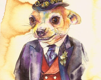 Rocco Chihuahua Ruthless Businessman - Coffee and Watercolor Victorian Steam Punk Fine art print - Pet portrait, dog, top hat, banker