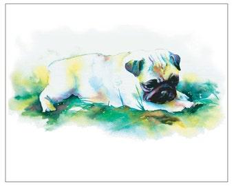 Baby Pug in Grass - Fine Art Pet Portrait Giclee Print
