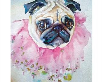 PUG fine art pet portrait print watercolor painting fawn pug in TUTU pink