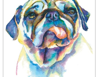 OLD PUG fine art pet portrait print watercolor painting fawn pug with tongue hanging out