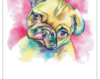 FAWN PUG DOG fine art pet portrait print watercolor painting in pink sweet baby pug face