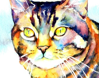 Colorful Striped Tabby Whiskers Kitty Cat Watercolor Print Pet Portrait