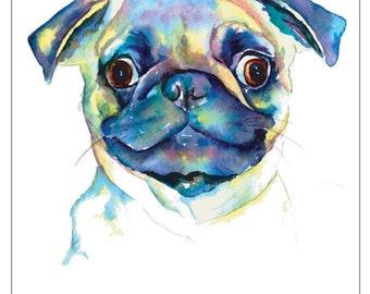 PUG fine art pet portrait print watercolor painting fawn pug GOOGLE eyes goofy