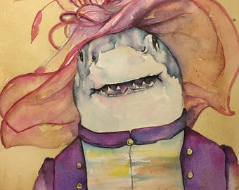 Lady Shark  -  Coffee and Watercolor Victorian Steam Punk Fine art print - shark week, debonair, high society, old west