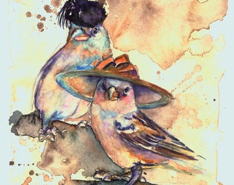 Sparrow Sisters -  Coffee and Watercolor Victorian Steam Punk Fine art print, feathers, plume, derby, hepburn